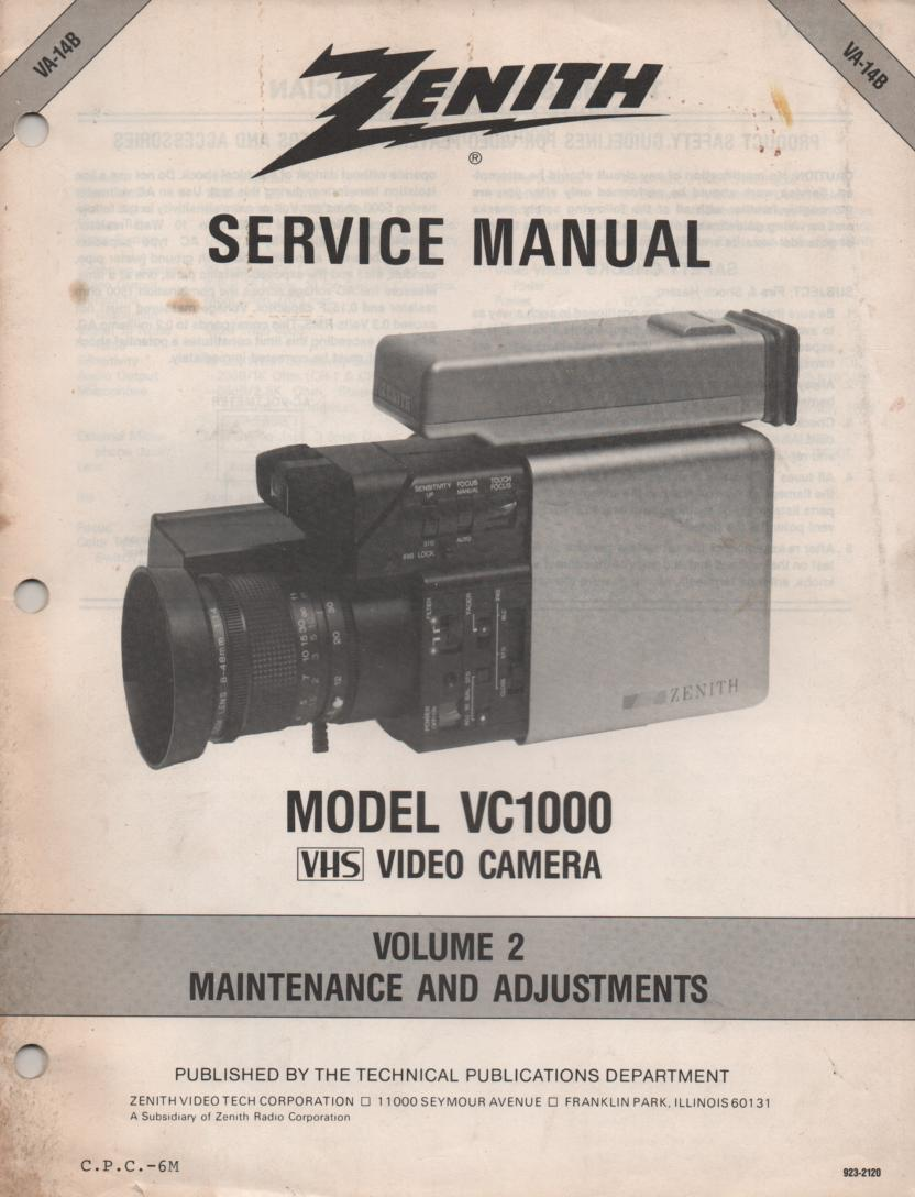 VC1000 Camcorder Maintenance and Adjustment Service Manual VA14B