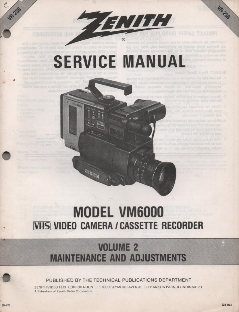 VM6000 Camcorder Maintenance and Adjustments Service Manual VR23B