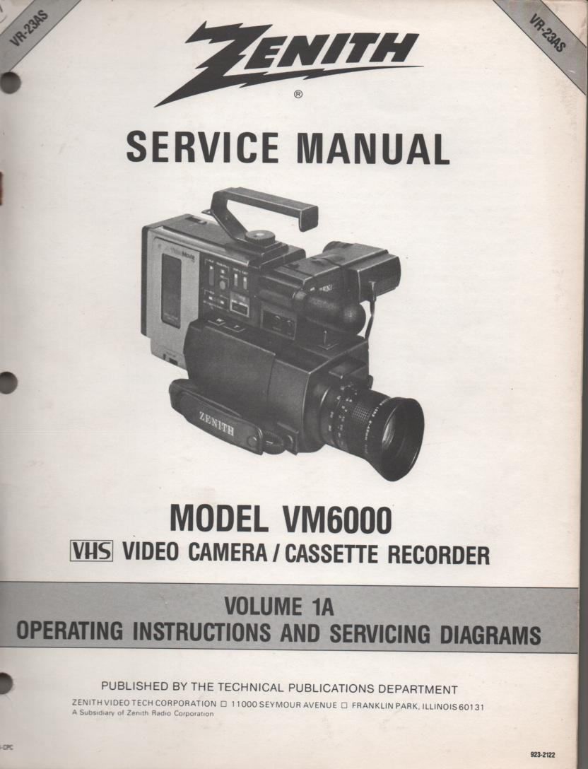 VM6000 Camcorder Operating Instuction Manual VR23AS-1..