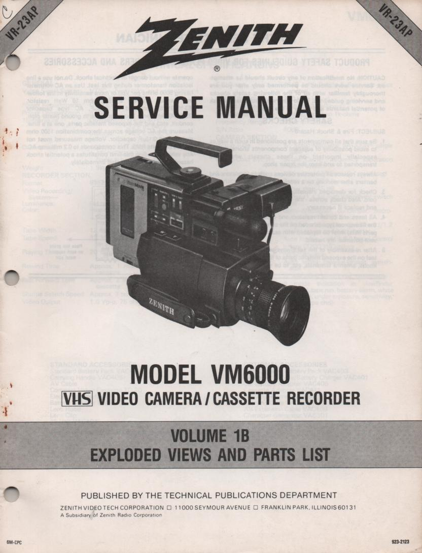 VM6000 Camcorder Exploded Views and Part List Service Manual VR23AP
