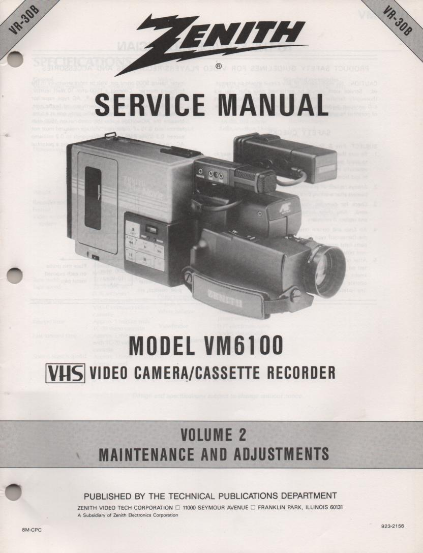 VM6100 Camcorder Maintenance and Adjustments Service Manual VR30B