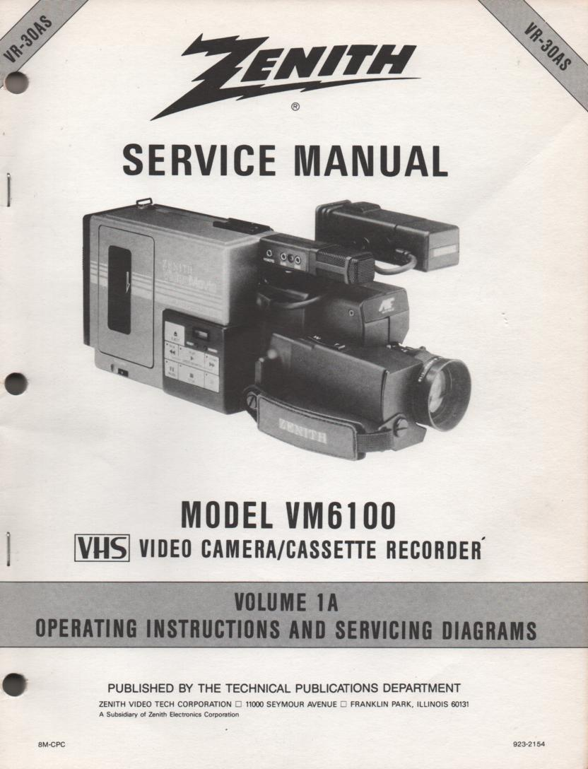 VM6100 Camcorder Operating Instuction Manual VR30AS-1