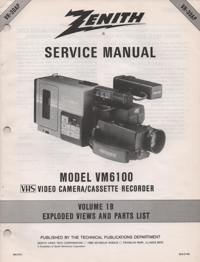 VM6100 Camcorder Parts List and Exploded Views Service Manual VR30AP