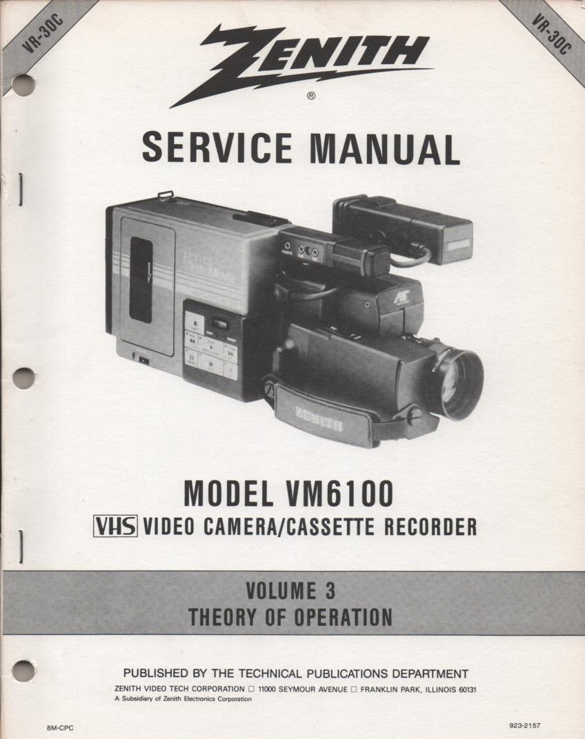VM6100 Camcorder Theory of Operation Service Manual VR30C