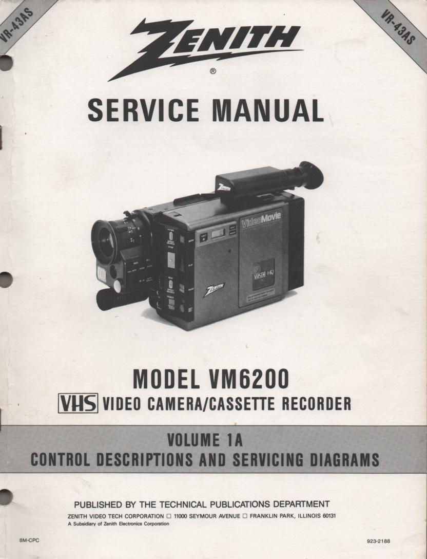 VM6200 Camcorder Control Descriptions Schematics Service Manual VR43AS Also contains a supplement..