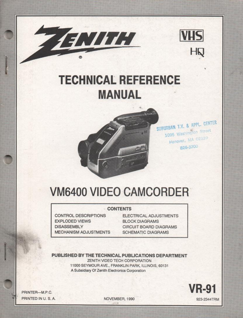 Zenith VM6400 Camcorder Technical Reference Service Manual... 
