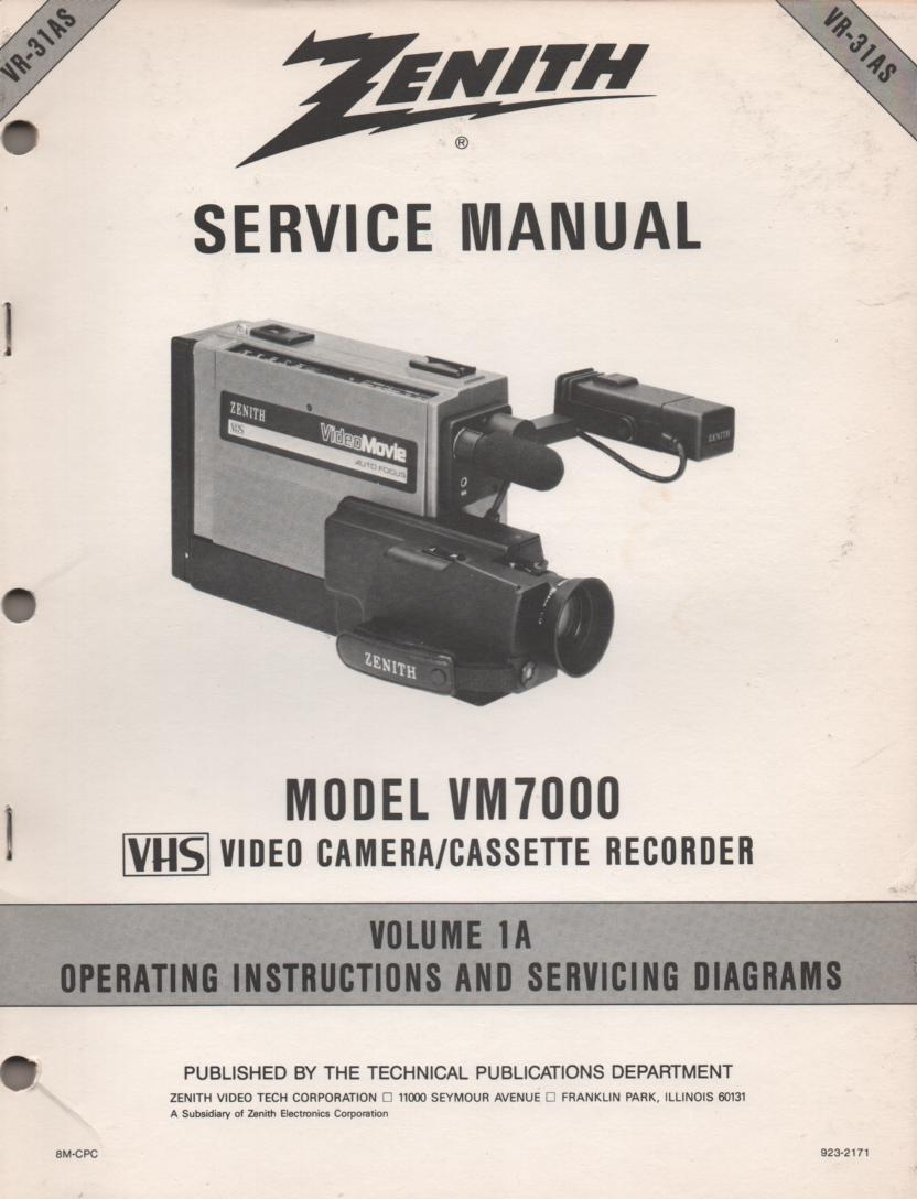 VM7000 Camcorder Owners Operating Manual VR31AS-1