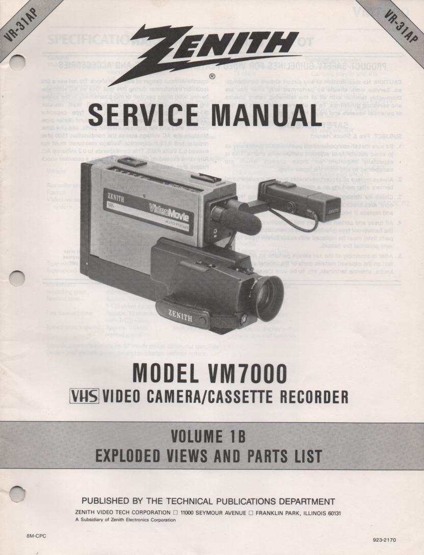 VM7000 Camcorder Exploded Views and Part List Service Manual VR31AP