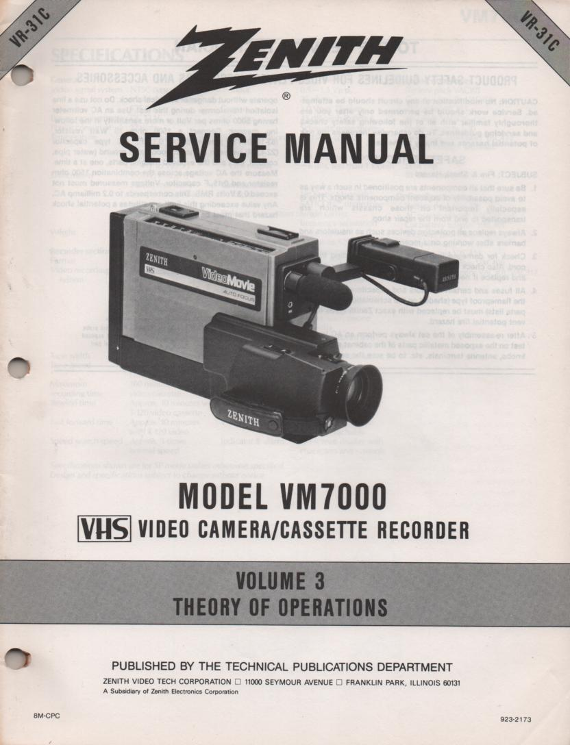 VM7000 Camcorder Theory of Operation Service Manual VR31C