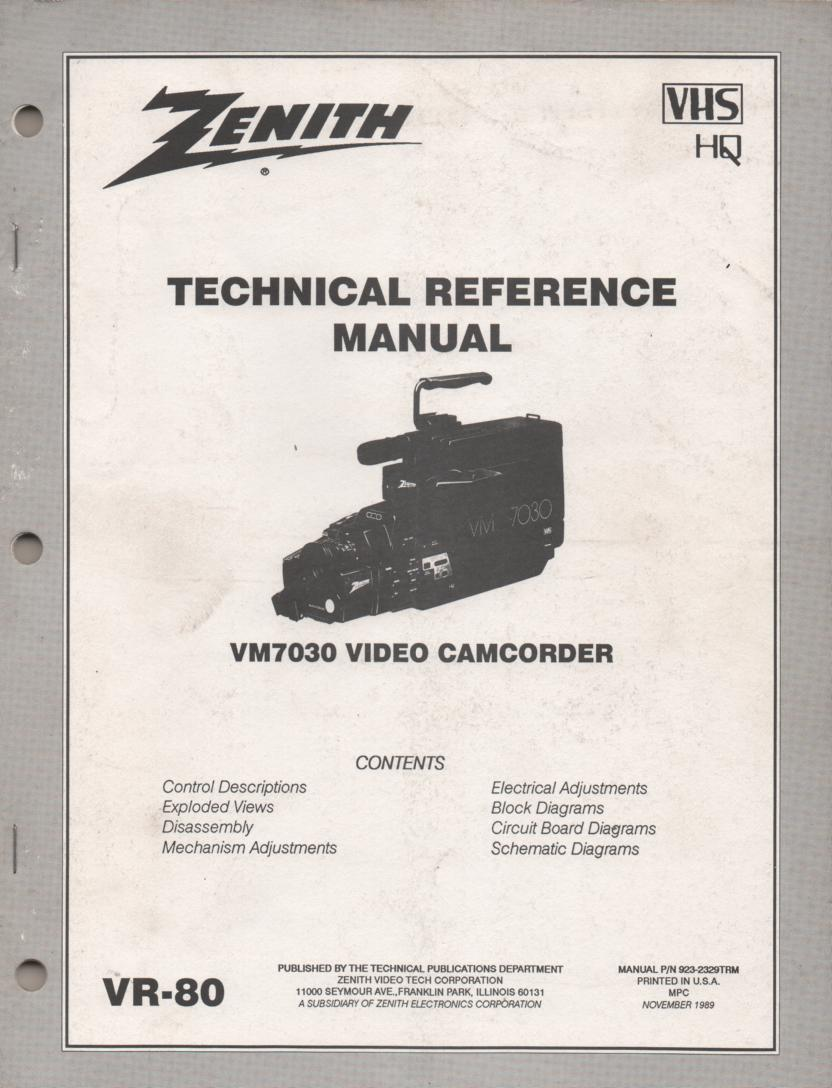 Zenith VM7030 Camcorder Technical Reference Service Manual... 