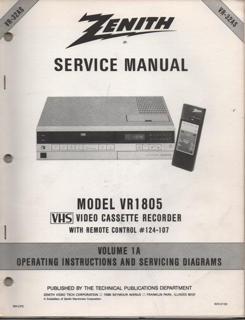 VR1805 VCR Operating Instruction Manual..VR32AS.. Front section of service manual in the owners manual..