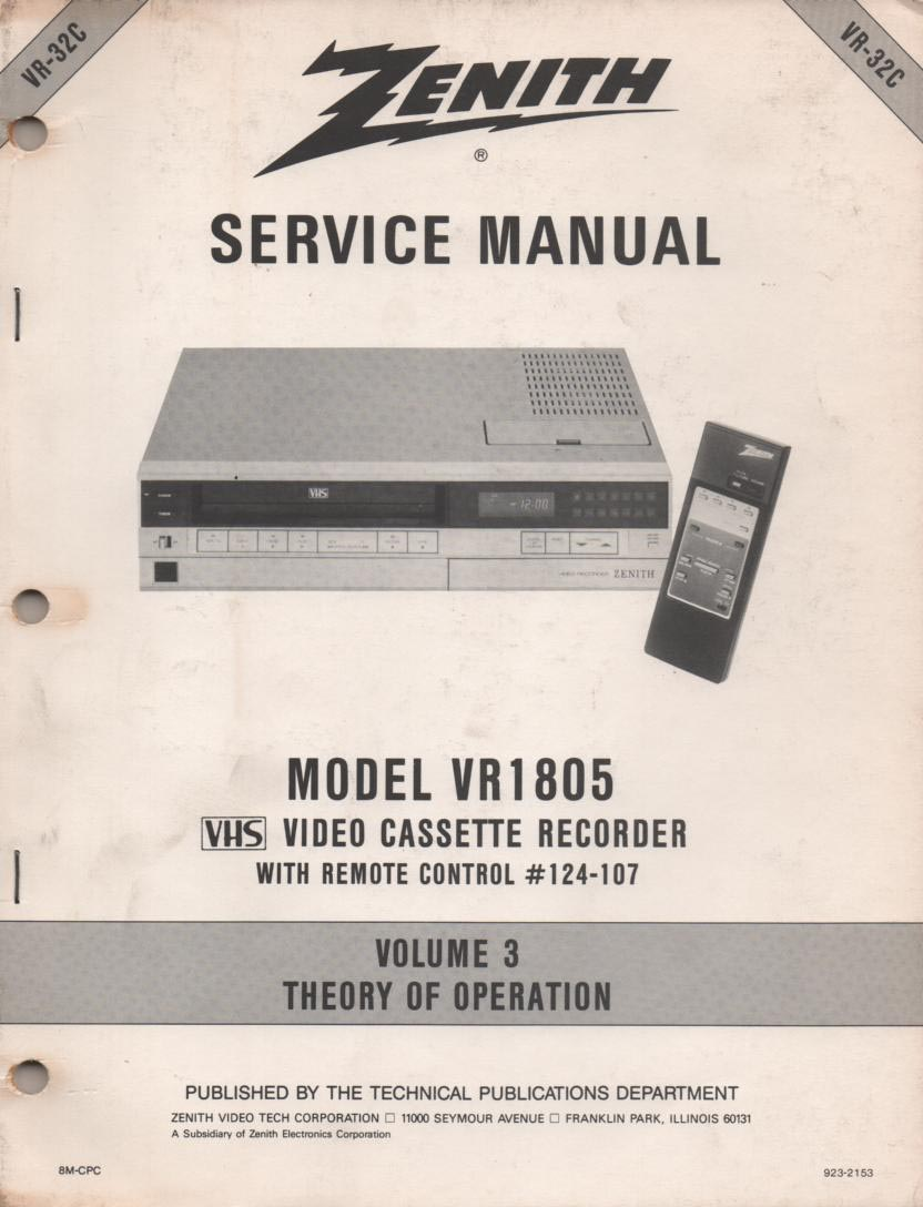 VR1805 VCR Theory of Operation Technical Service Manual VR32C  This is not an owners manual..