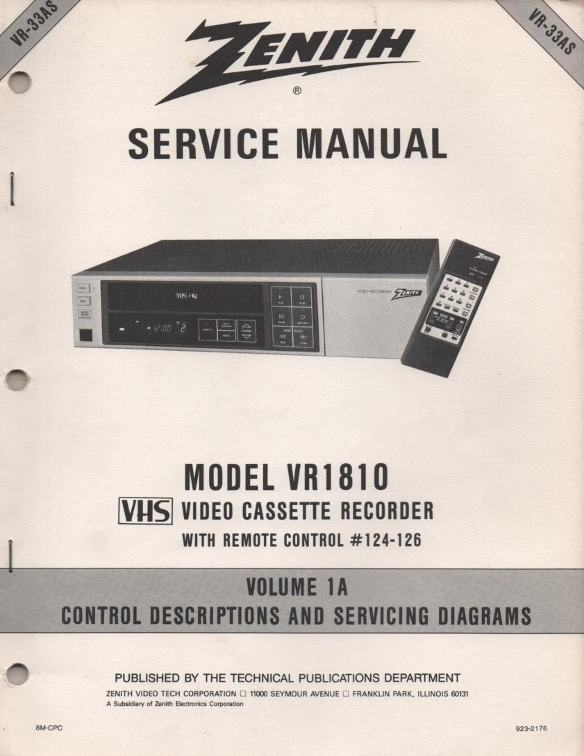 VR1810 VCR Control Descriptions Service Diagram Manual VR33AS