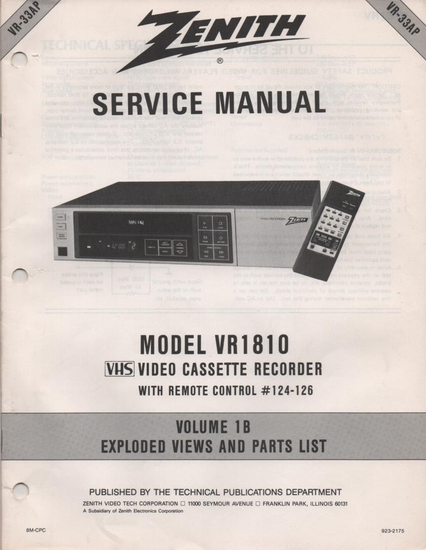 VR1810 VCR Exploded Views and Parts Service Manual VR33AP