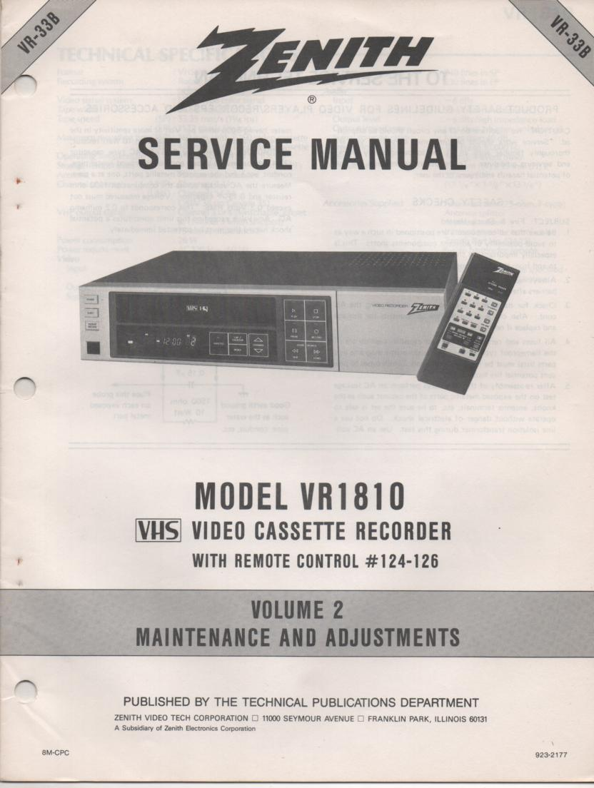 VR1810 VCR Alignment Service Manual VR33B