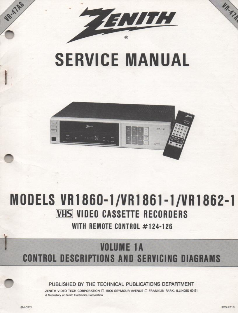 VR1860-1 VR1861-1 VR1862-1 VCR Control Descriptions Service Diagram Manual VR47AS