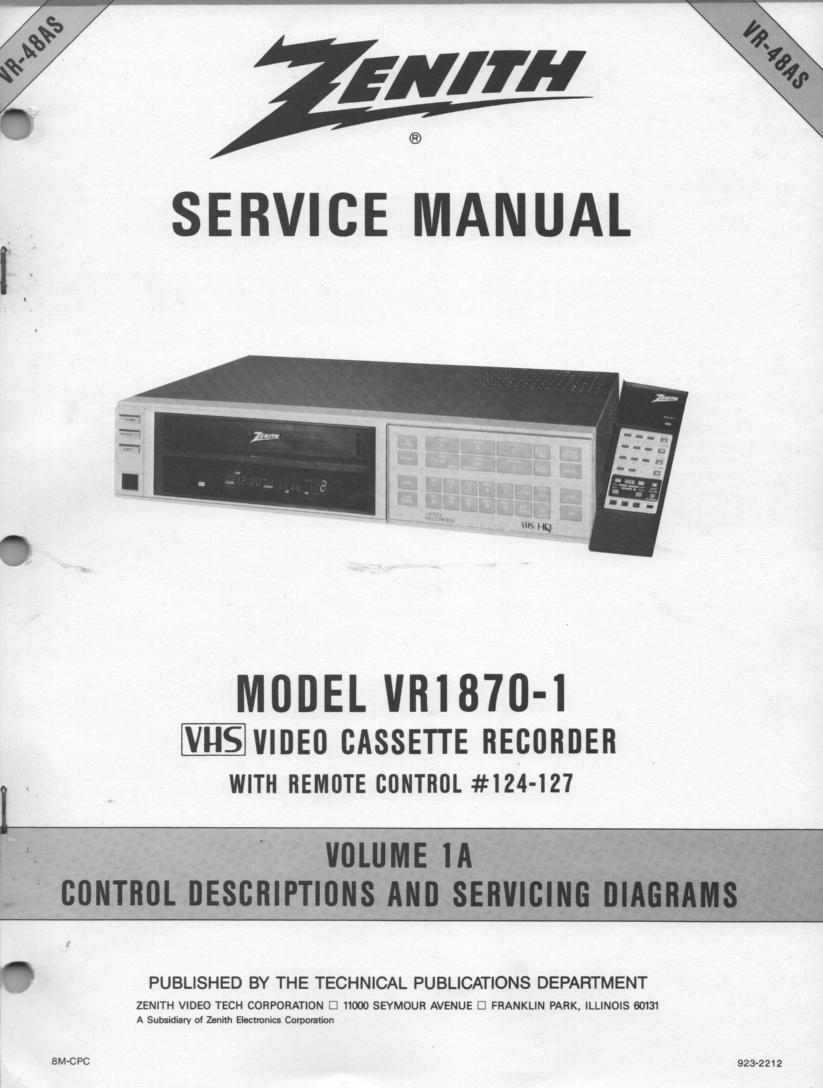 VR1870-1 VCR Control Descriptions Service Diagram Manual VR48AS