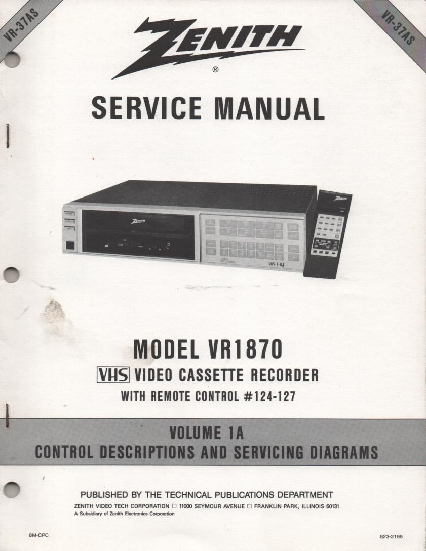VR1870 VCR Control Descriptions Service Diagram Manual VR37AS