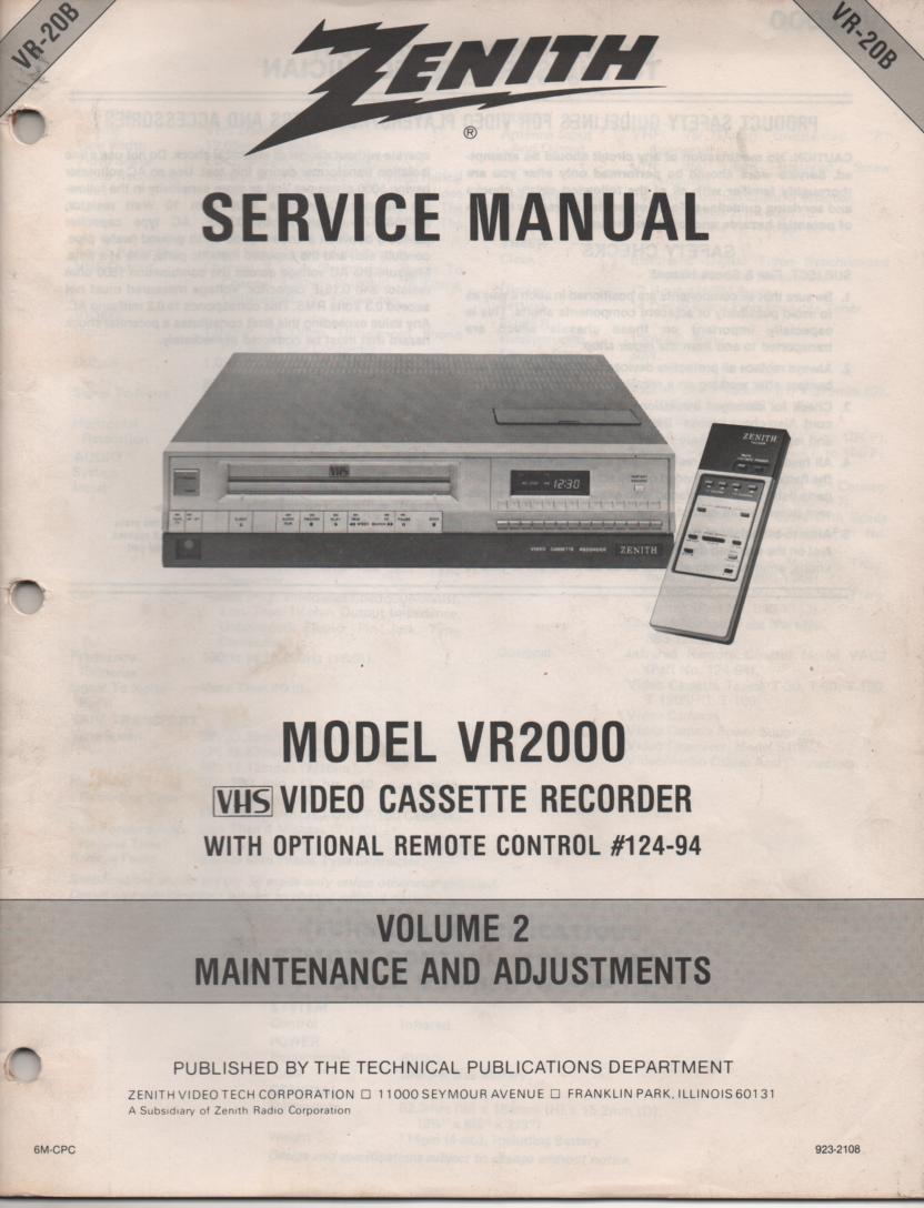 VR2000 VCR Alignment Service Manual VR20B