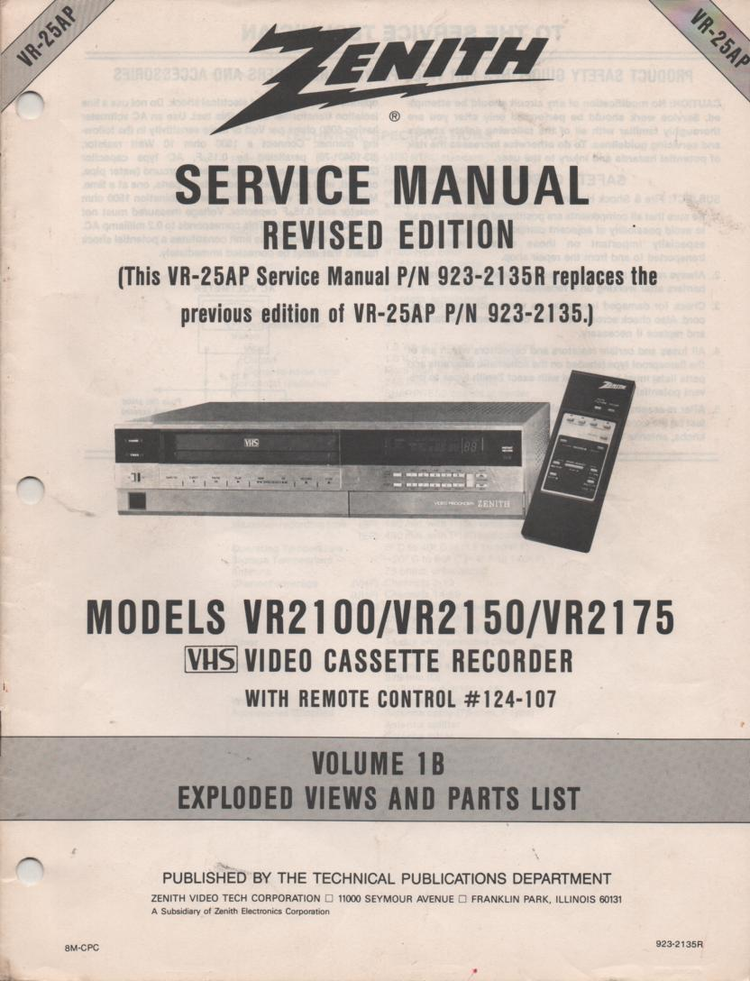 VR2100 VR2150 VR2175 VCR Exploded Views and Parts Service Manual VR25B