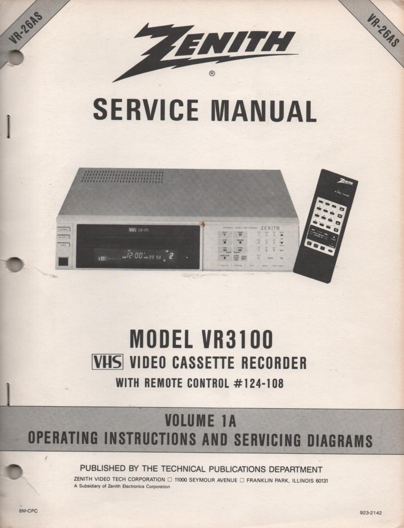 VR3100 VCR Operating Instruction Manual..VR26AS.. Front section of service manual in the owners manual..