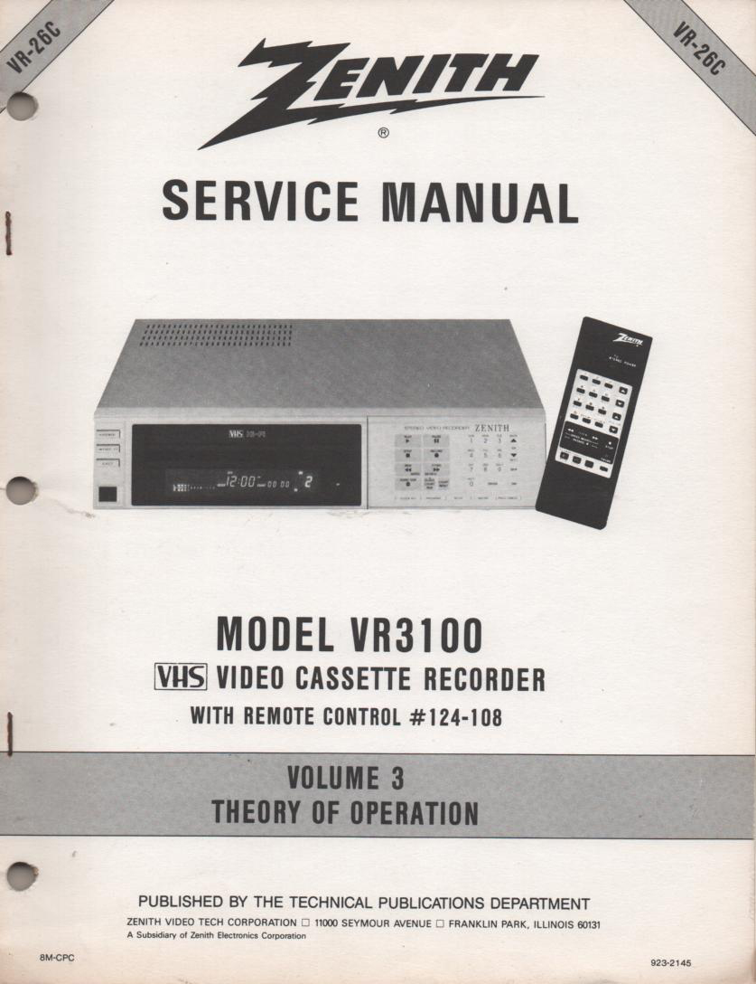 VR3100 VCR Theory of Operation Technical Service Manual VR26C  This is not an owners manual..