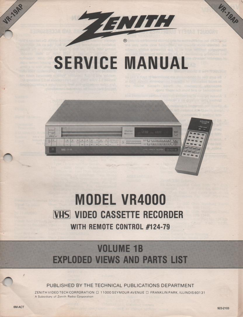 VR4000 VCR Exploded Views and Parts Service Manual VR19AP