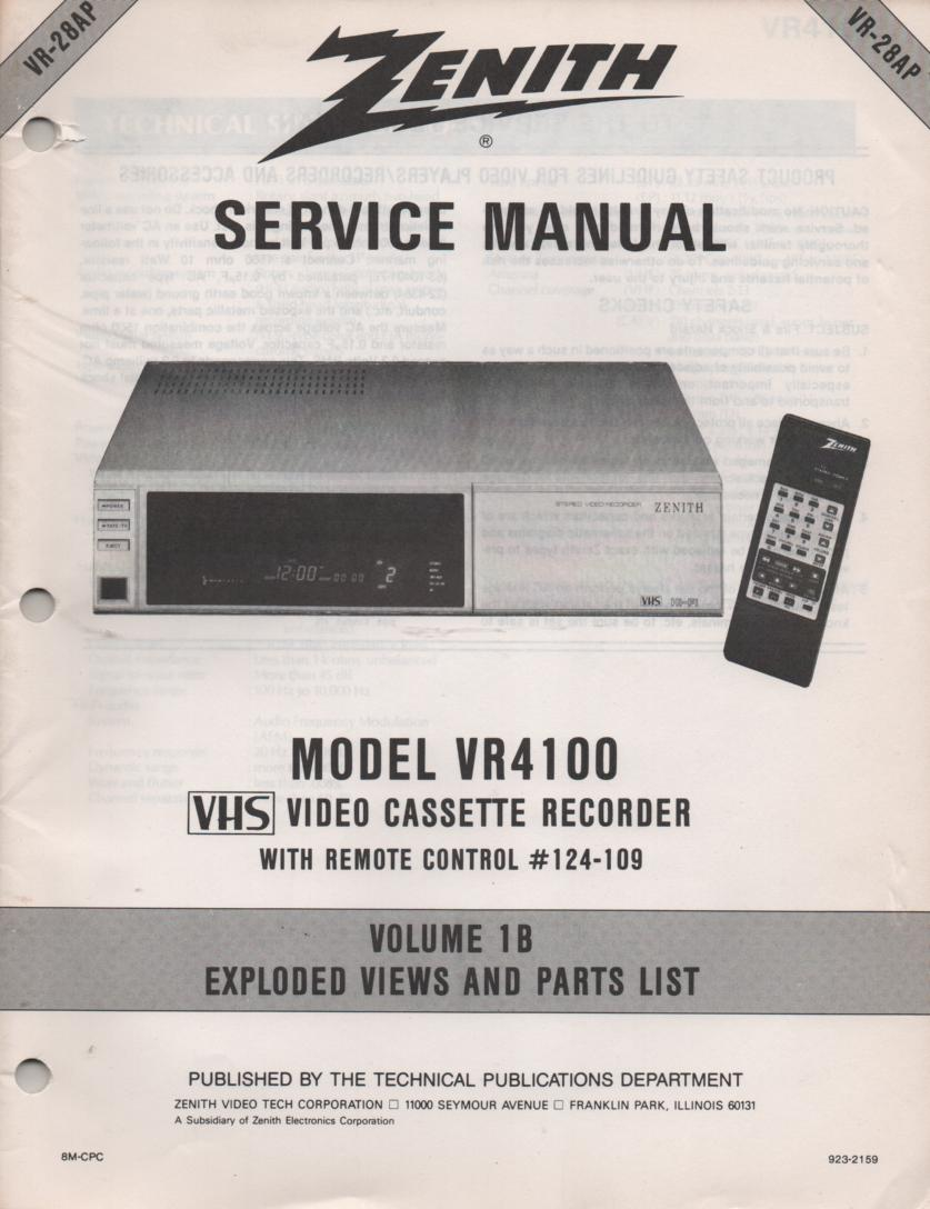 VR4100 VCR Exploded Views and Parts Service Manual VR28AP