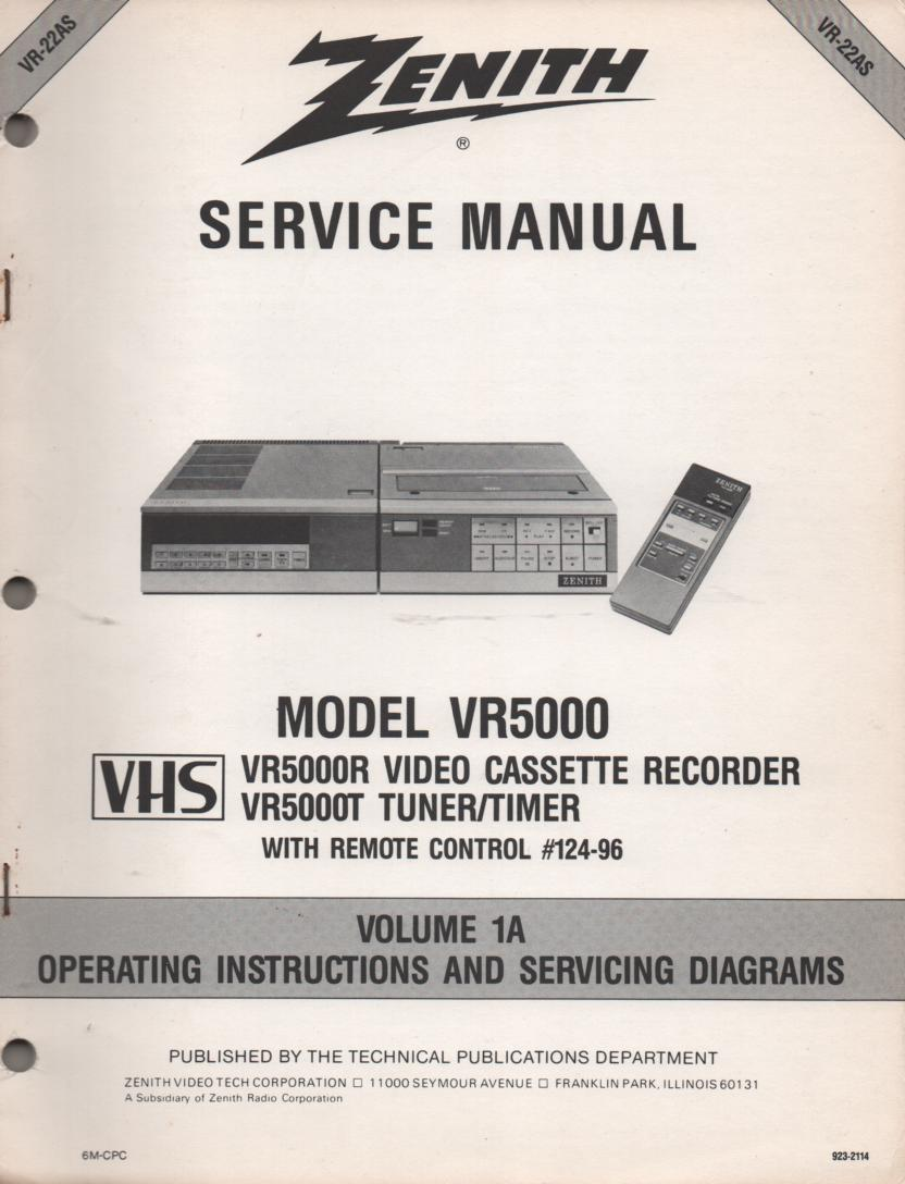 VR5000 VCR Operating Instruction Manual VR22AS.. Front section of service manual is the owners manual..