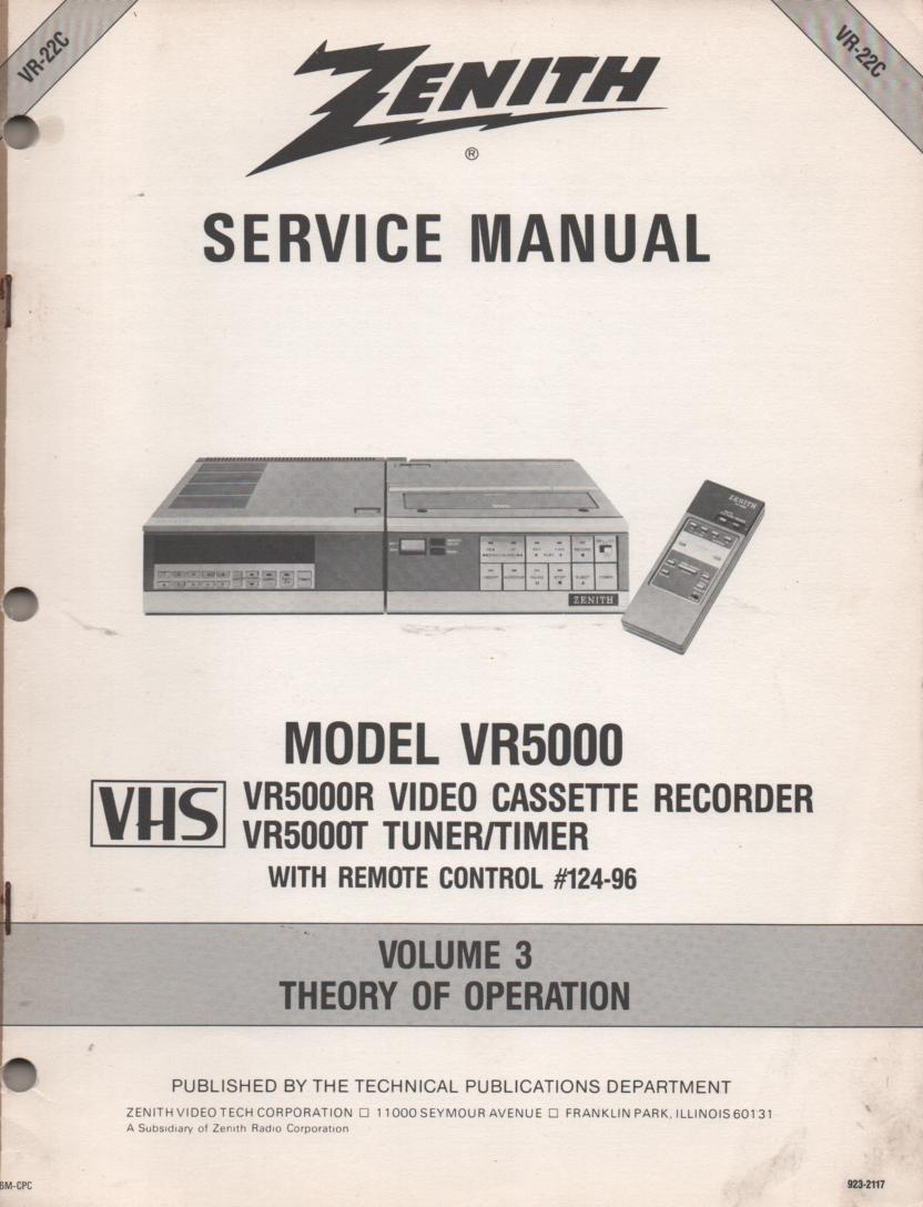VR5000 VCR Theory of Operation Technical Service Manual VR22C  This is not an owners manual..
