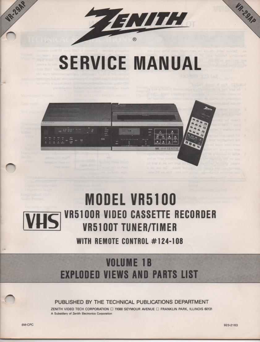 VR5100 VCR Exploded Views and Parts Service Manual VR29AP