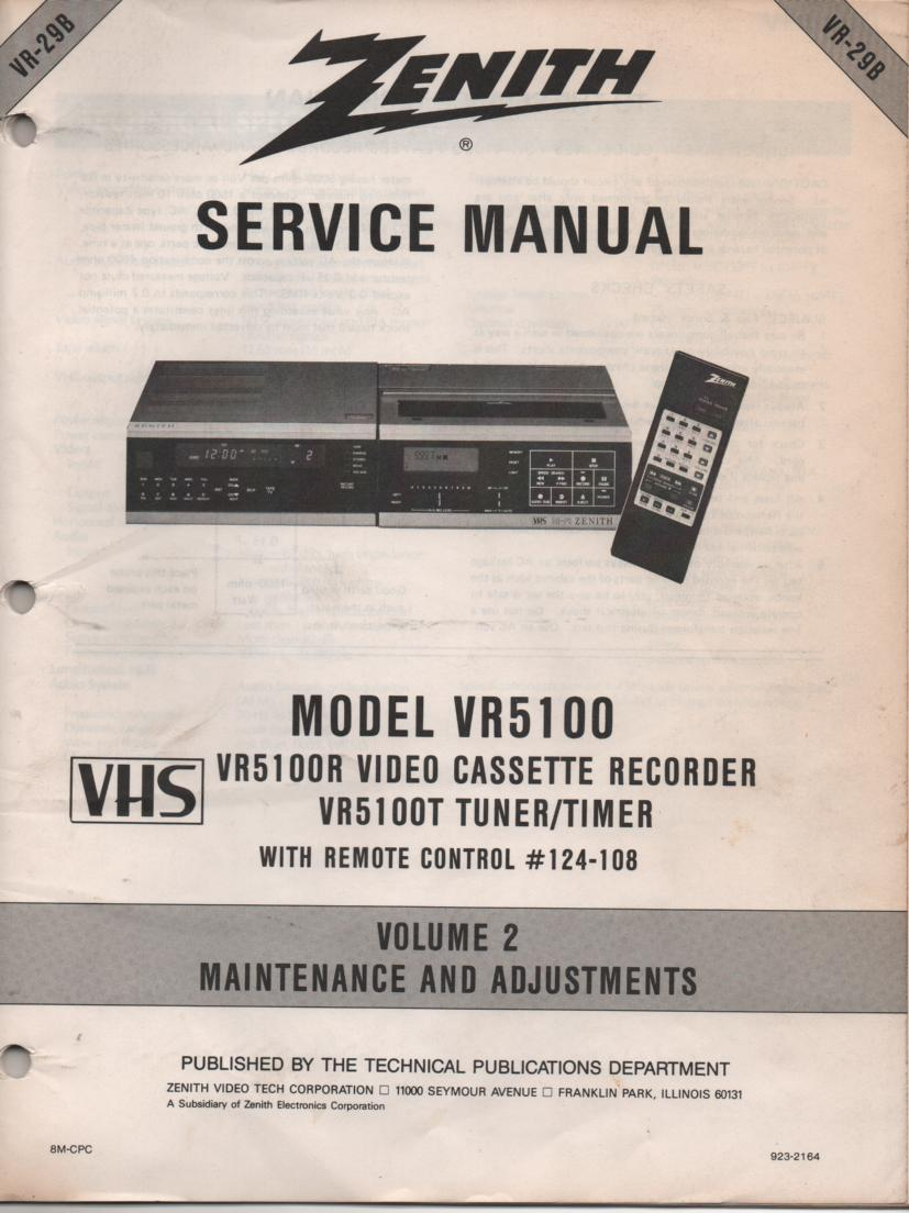 VR5100 VCR Alignment Service Manual VR29B