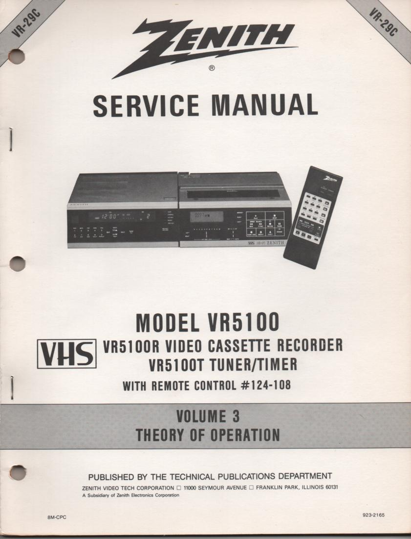VR5100 VCR Theory of Operation Technical Service Manual VR29C  This is not an owners manual..