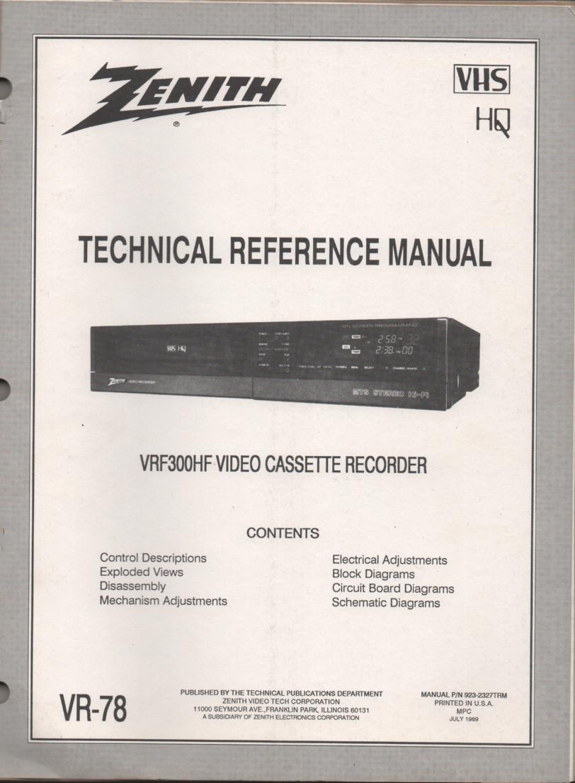 Zenith VRF300HF VCR Technical Reference Service Manual... 
