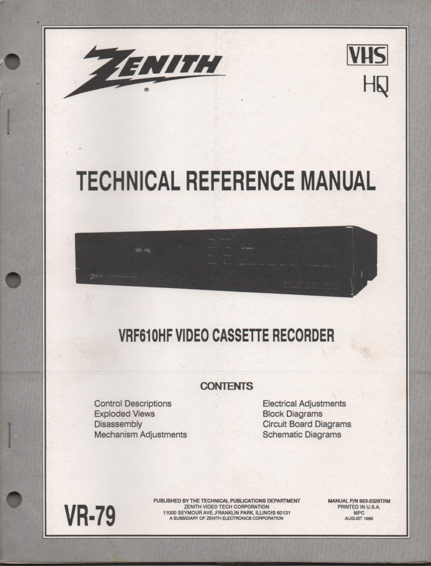 Zenith VRF610HF VCR Technical Reference Service Manual... 