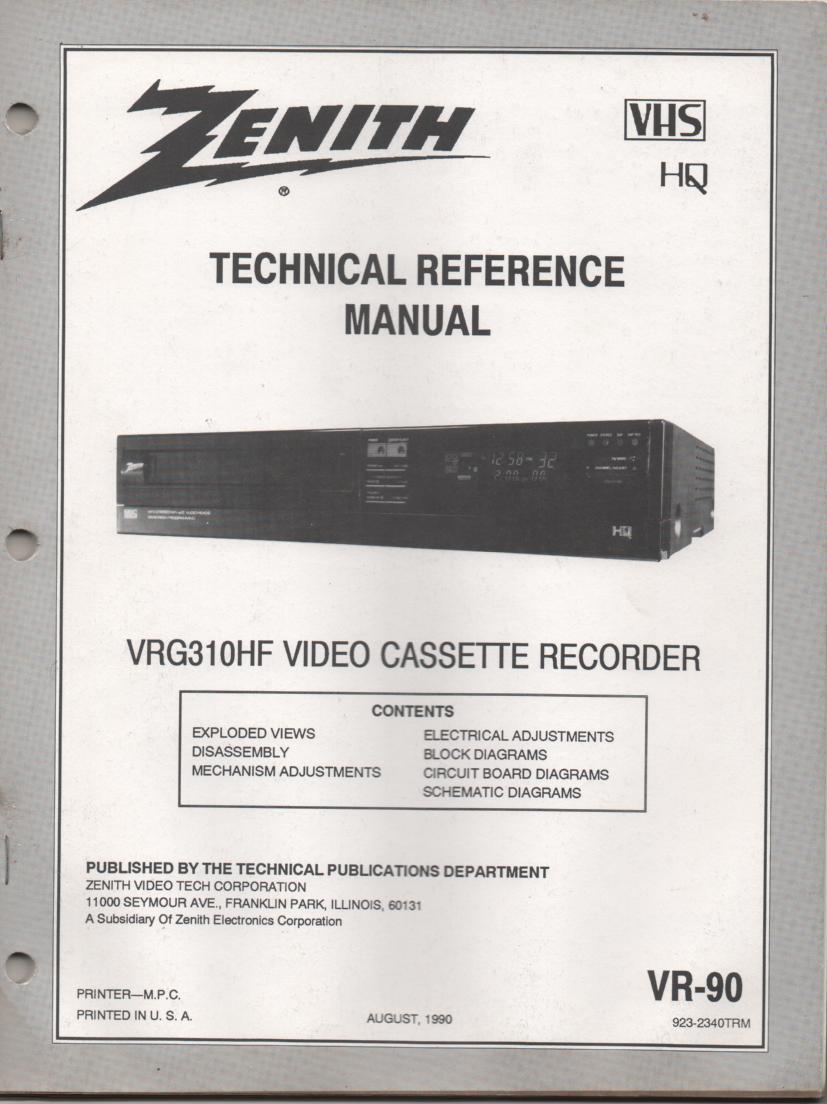Zenith VRG310HF VCR Technical Reference Service Manual.VR-90