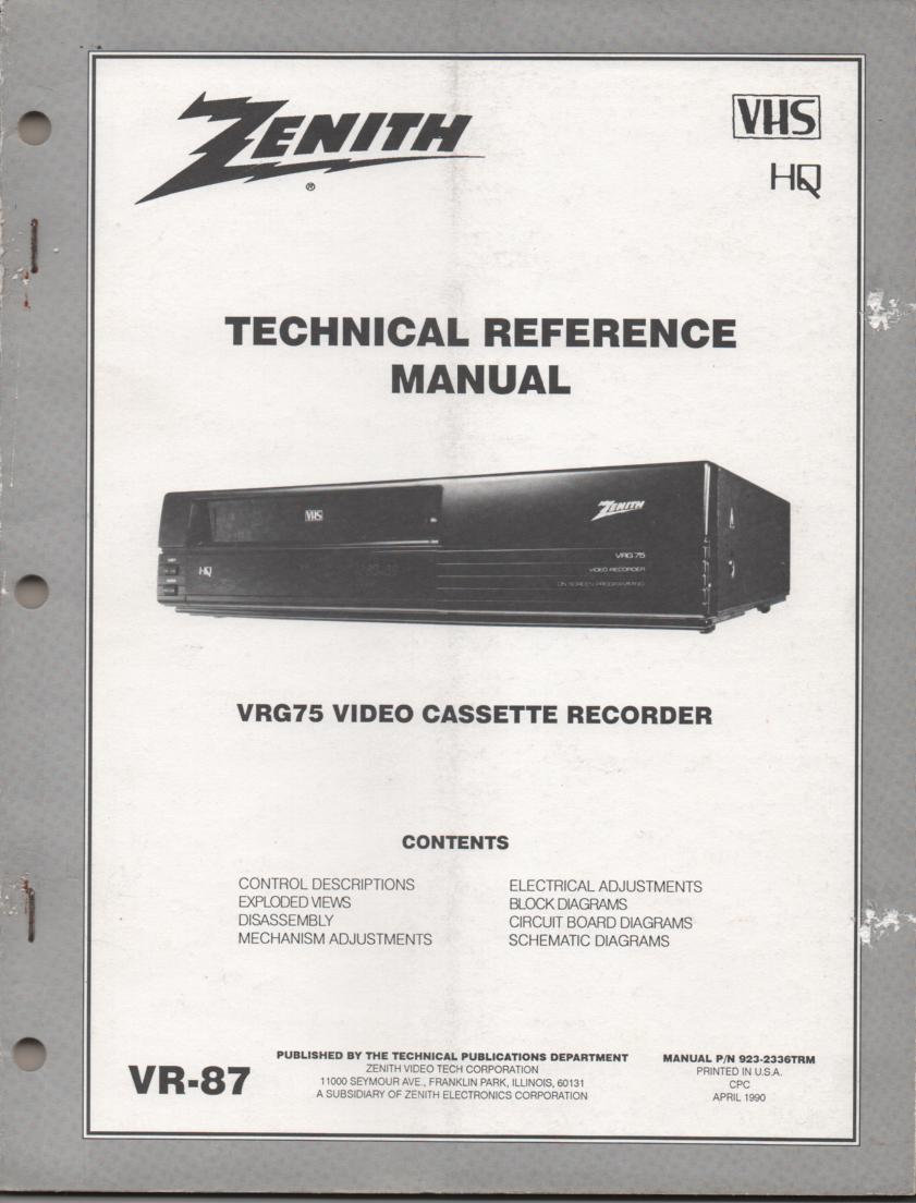 Zenith VRG75 VCR Technical Reference Service Manual... 