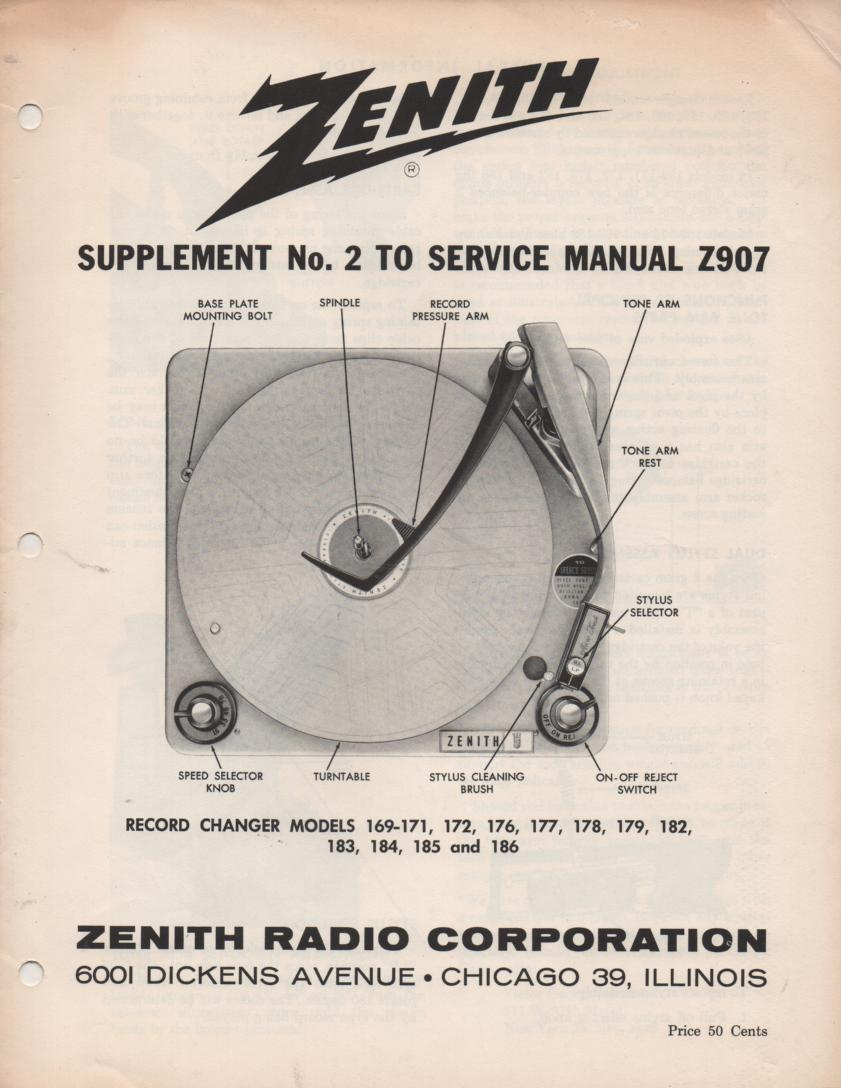 169-171 169-172 169-176 169-177 Record Changer Service Manual Z907 Sup2
