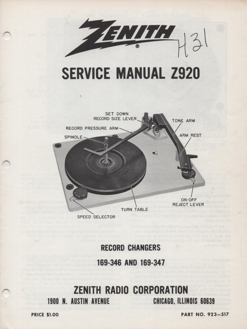 Z920 169-346 169-347 Turntable Service Manual