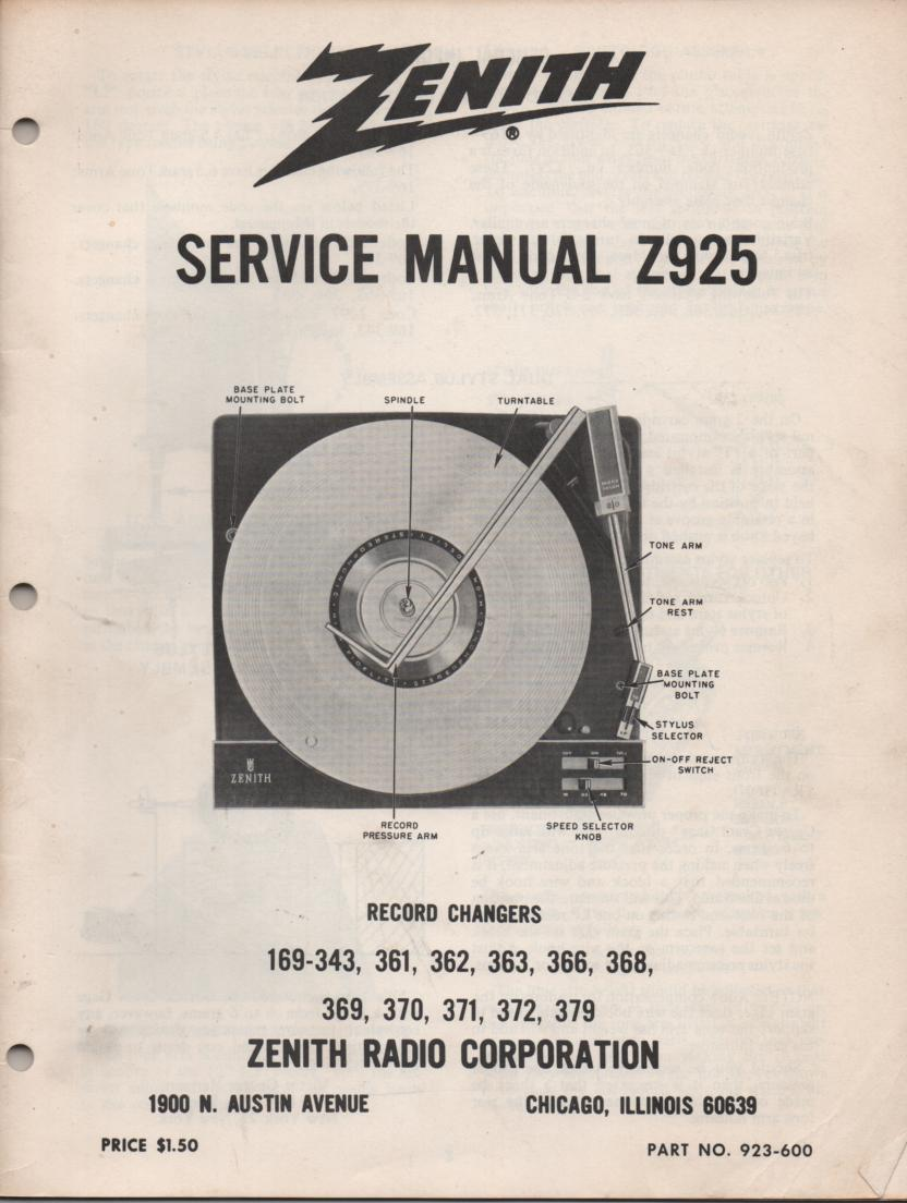 169-343 169-361 169-362 169-363 Record Changer Service Manual Z925