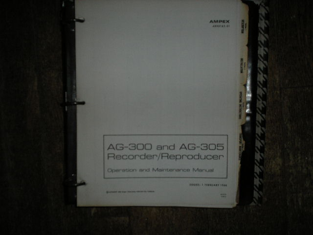 AG-300 AG-305 Recorder Reproducer Service Manual  AMPEX