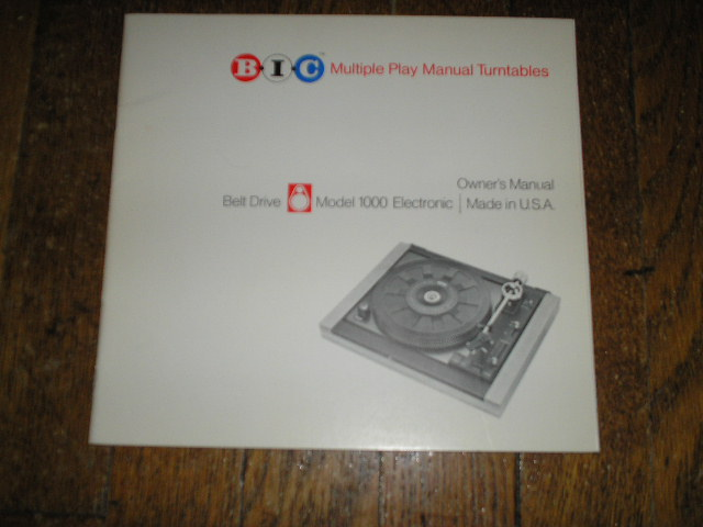 1000 Turntable Owners Manual  BIC