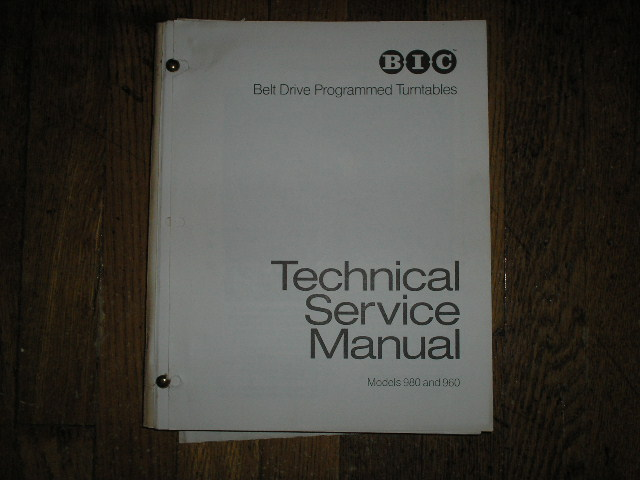 960 980 Turntable Service Manual  BIC