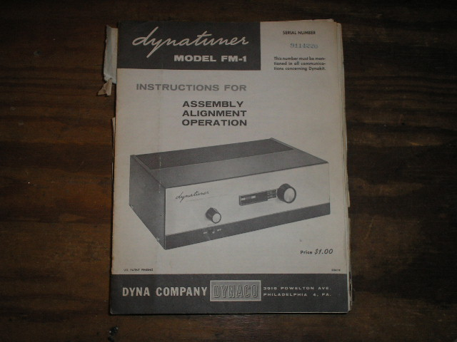 FM-1 Tuner Assembly Service Manual  Dynaco
