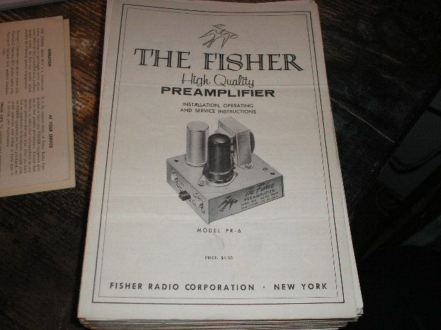 PR-6 Pre-Amp Owners Service Manual  Fisher