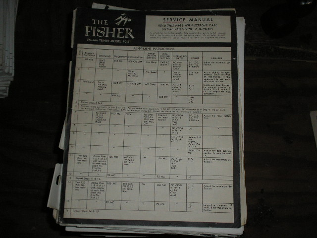 70-RT Tuner Service Manual  Fisher