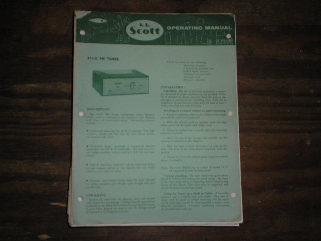 311-C Tuner Operating Instructions plus Schematic  Scott