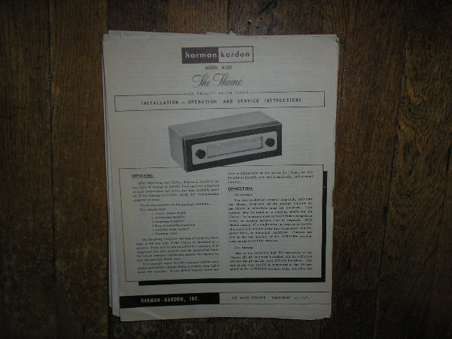 A-300 AM FM The Theme Tuner Service Manual  Harman Kardon