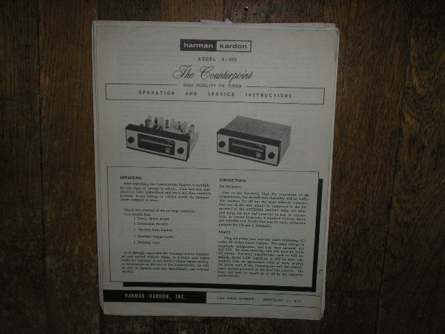A-400 The Counterpoint FM Tuner Service Manual   Harman Kardon