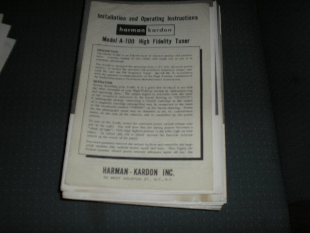 A100 Tuner Service Manual  Harman Kardon
